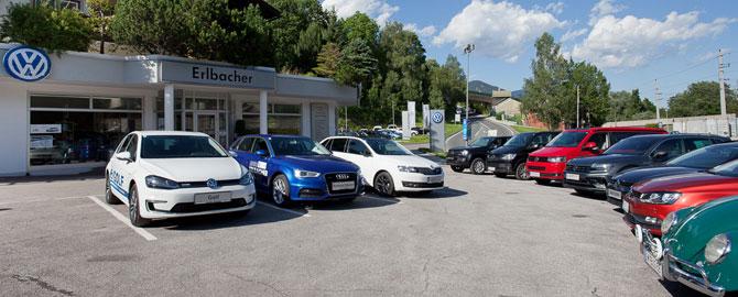 Autohaus Erlbacher in Schladming, mit den Marken VW, Audi, Nutzfahrzeuge.